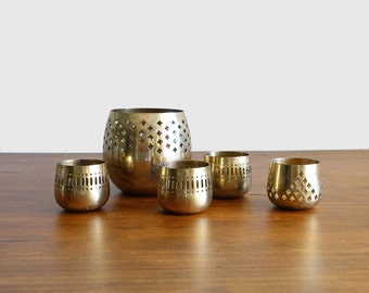 Vintage Brass Candle Holders Set of Five Votive Candles