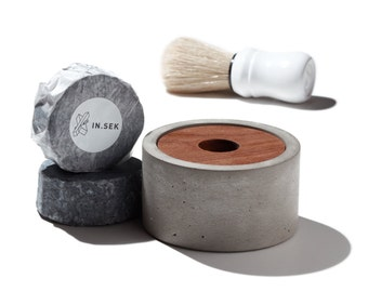 Soap + Shave Kit / X Shave Bowl with our signature activated charcoal shaving soap puck/ concrete shave bowl and soap set/ Shave kit