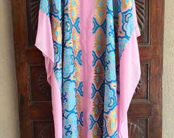 Embroidered pink caftan beach dress