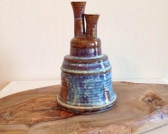 Beautiful Double Spout Eclectic Pottery Vase or Vessel