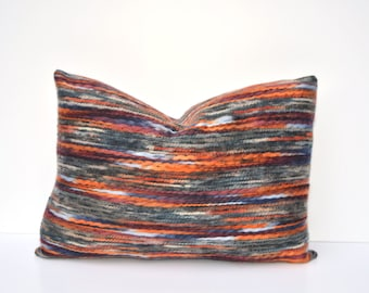 Multi Color Pillow Cover Felted Yarn Gray, Orange, Mauve, Red, White, Blue 14 x 24, 18 x 18, 12 x 16, Many Sizes Available