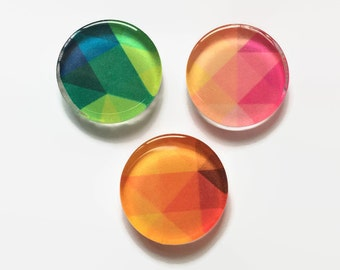Colorful geometric round glass fridge magnets - set of 3 - green, pink, orange