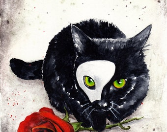 Phantom Kitten: Fine Art Watercolour Black Cat Print