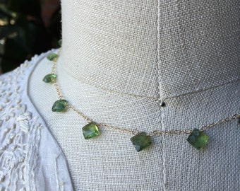 Green Apatite Necklace, Diamond Shaped Briolette Station Necklace on Gold Chain, Item NS995