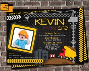 Construction Birthday Invitation, Construction Invitation, Construction Party, Construction Birthday, Boys Construction, Dump Truck TF-12