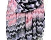Woman Scarf Shawl. Chevron Fringed Scarf. Heavy Woman Shawl. Winter Scarf. Pink Scarf. Soft Pashmina Shawl. 27x71in (68x180cm) Ready2Ship