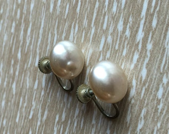 Costume Pearl Vintage Screwback Earrings, Japan