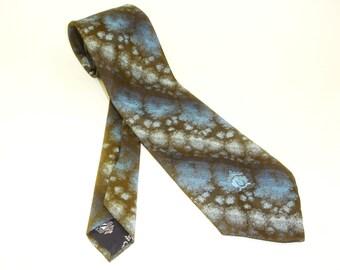 Fab 1970s Oleg Cassini Tie Mens Vintage Wide Blue & Brown Textured Polyester Disco Era Necktie by Oleg Cassini