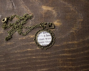 Edgar Allan Poe, We Loved With a Love That Was More Than Love, Annabel Lee, Classic Literature, Classic Poem, Book Page, Vintage Necklace