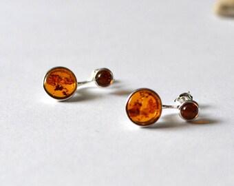 Amber ear jacket earrings, Amber double sided earrings, Baltic Amber Earrings, front back earrings, Amber jewelry