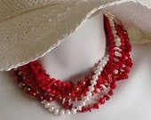 Multi Strand Torsade Necklace, Red Coral, Mother-Of-Pearl, White Pearls, Sterling Silver