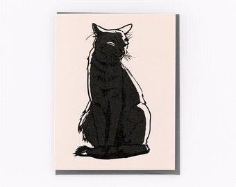 Black Cat Cat Stationery Note Greeting Card