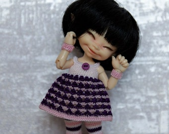 In stock Stripy outfit for realpuki purple/pink/white