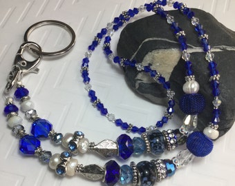 Free Shipping - Spiritual Connection -  Blue ID Badge Holders/Blue Crystal Lanyards/Blue Swarovski Crystal Lanyards/Fancy Badge Holders
