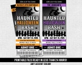 HALLOWEEN TICKET INVITATIONS Birthday or Costume Party - Any Color, Any Age - (print your own) Personalized Printable Files