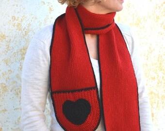 Red infinity scarf with hearts, crochet woman's long neckwarmer, wool scarflette, knit winter accessory