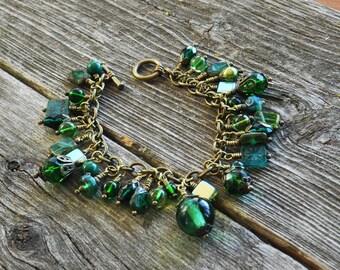 Emerald & Shades of Green, Blue Green and Aqua Czech Glass Cluster Charm Cha-Cha Brass Bracelet