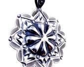 Silver Mandala Pendant traditional hand stamping, contemporary design.