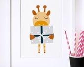 Nursery art, Kids room art print, nursery poster, nursery decor, giraffe, illustration, kids decor