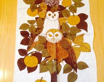 SALE! vintage linen owl tea towel