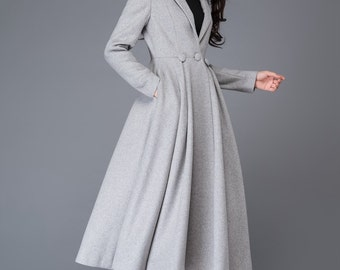 princess coat, long coat, wool coat, coat,  grey wool coat, long wool coat, maxi coat, womens coats, jackets, winter coat  C996