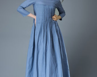 Blue Linen Dress Spring Blue Dress Maxi Dress C811