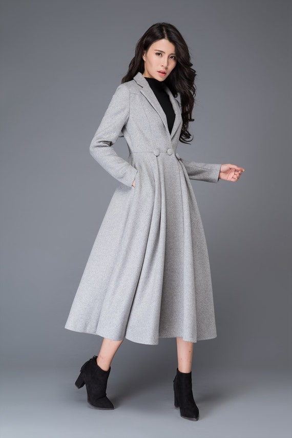 princess coat long coat wool coat womens coats grey wool