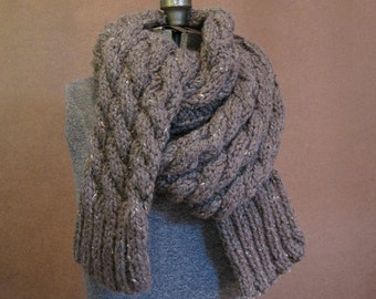 Extra Long Chunky Cable Knit Scarf - The Denali, Wool - MADE TO ORDER