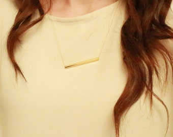 Gold bar necklace / Necklace to layer / square tube necklace / Layering necklace / Bar necklace / Gold necklace / Minimalist necklace