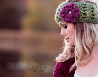 """Crochet Pattern for the """"Country Cottage Ear Warmer,"""" PDF, Instant Download, Permission to Sell Finished Items"""