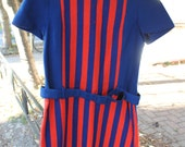 1960s '60s Lanz Original Mod Striped Sweater Dress. Red and Blue Knit Minidress. Belted Scooter Dress. Warm Gogo Dress. M Medium.