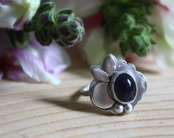 Moon silver ring, petit amethyst silver ring,  LITTLE HAMALAYA MOON, scallop silver ring, unique engagement ring, size 5 3/4