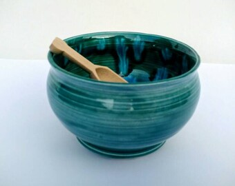 Pottery Salt Bowl with Wooden Spoon  Made in Uk Wedding Gift Idea