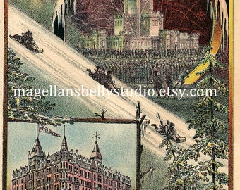 St. Paul Ice Palace  Winter Carnival 1886 Instant Digital Download Hotel Ryan RARE Sledding Minnesota Winter Fun Make Christmas Cards