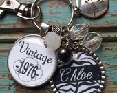 Birthday gift for her, PERSONALIZED VINTAGE Necklace or Keychain, 30th 40th 50th 21st birthday, Best friend birthday gift, daughter gift