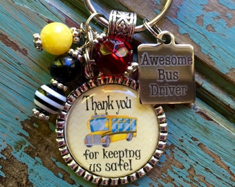 Bus Driver Gift, Personalized Keychain,Thanks for keeping us safe, School bus, present, lanyard, teacher, elementary school, book mark, key