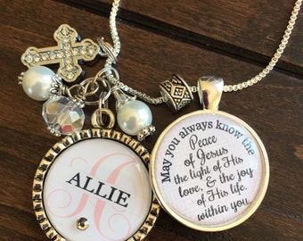 First Holy Communion necklace, PERSONALIZED childrens name daughter granddaughter niece present sister religious catholic beautiful quote