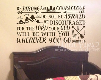 Be brave strong and courageous seek adventure and truth, Explorer Nursery, arrows, mountains,Vinyl wall decal Nursery Joshua 1:9 JOS1V9-0020