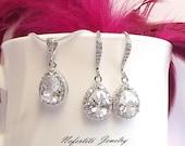 crystal wedding jewelry set, bridesmaid jewelry, bridal jewelry set, CZ bridal necklace & earring set, cubic zirconia drop wedding jewelry