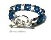 Peacock Blue Glass Beaded Bracelet