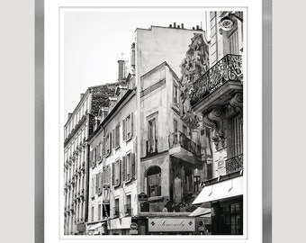 Paris art black and white Architectural prints Paris photography extra large wall art Paris cityscape print Street art, 11x14, 24x30, 24x36