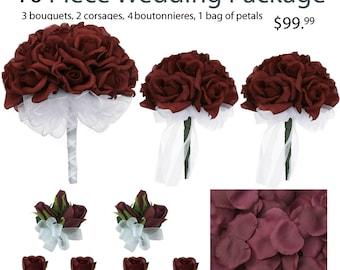 10 Piece Wedding Package - Silk Wedding Flowers - Bridal Bouquets - Burgundy Wedding Bouquets