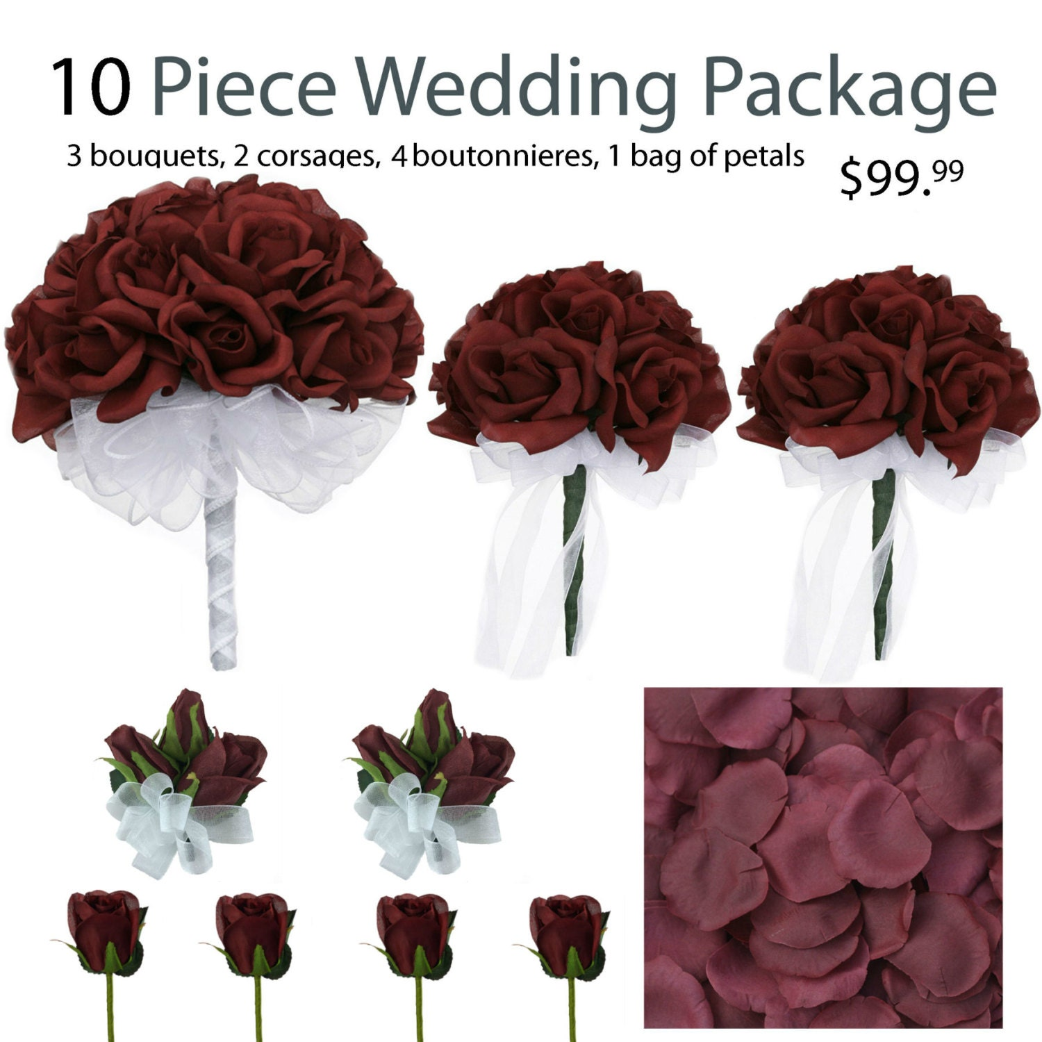 Wedding Flower Packages Cheap: 10 Piece Wedding Package Silk Wedding Flowers Bridal