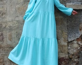 Turquoise Maxi dress, Boho Dress, Plus size dress, Long Dress, Linen Dress, Dress with Pockets, Long sleeves dress