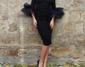 HOLIDAY Black bodycon dress, Midi dress, Bodycon dress, Little black dress, off shoulders Dress, Party dress, Evening dress, Prom dress