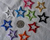"Open Star Iron-On Appliques 1.5"" Many Colors Sets of 4"