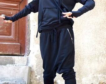 NEW SS/15 Loose Casual  Black Drop Crotch Harem Pants / Extravagant Black Pants/ Side zipper pockets /Ribbed leggings part by AAKASHA A05314