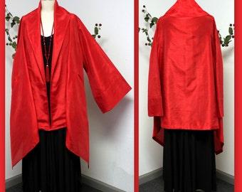 New Aristocratic Dupioni Poly Silk Jacket, Swing Jacket, Plus size Jacket, Lagenlook Jacket.