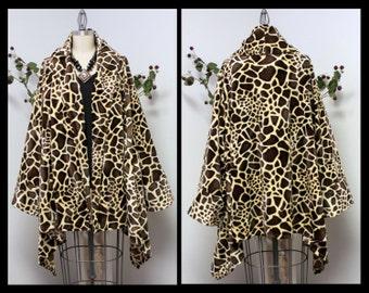 Plus size Giraffe Print Asymmetrical Velboa Warm (Velvet)Swing Jacket Coat XL to 4XL