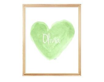 Green Nursery Decor, Lime Green Girls Room Decor, Lime Green Art, 8x10 Watercolor Print, Apple Green Decor, Chartreuse, Apple Green Art